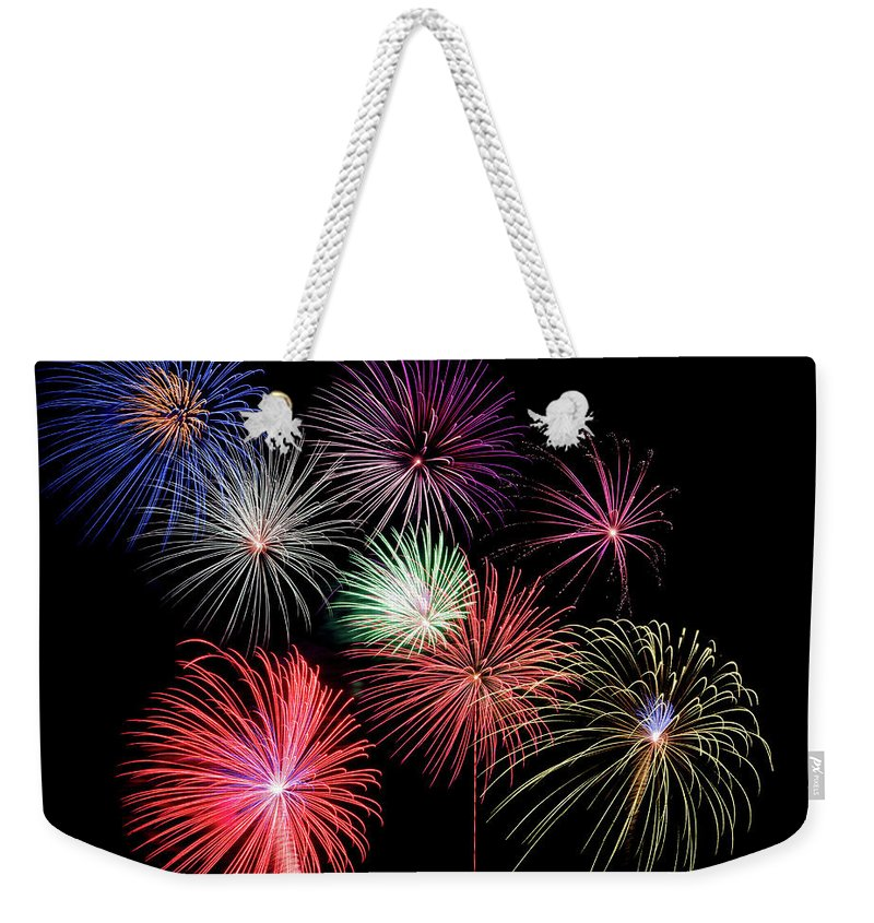 Firework Display Weekender Tote Bag featuring the photograph Fireworks by Michael Parrish Photography