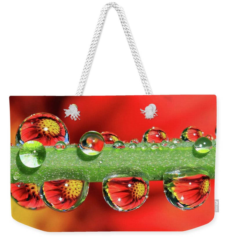 Water Drops Weekender Tote Bag featuring the photograph Firey Drops by Gary Yost