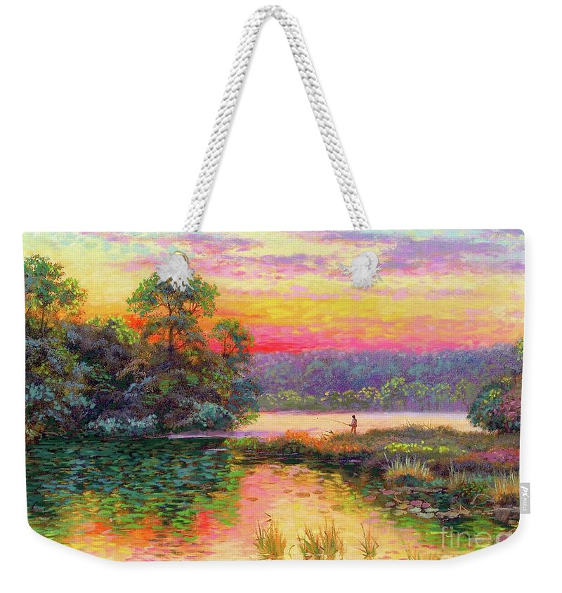 Sunset Weekender Tote Bag featuring the painting Fishing In Evening Glow by Jane Small