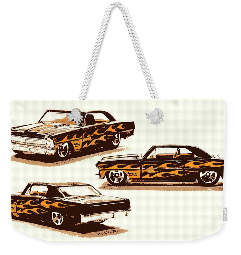 Chevy Weekender Tote Bag featuring the photograph Flamin Chevrolet 66 Nova by Jorgo Photography - Wall Art Gallery
