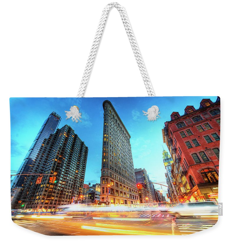 Outdoors Weekender Tote Bag featuring the photograph Flatiron by Tony Shi Photography