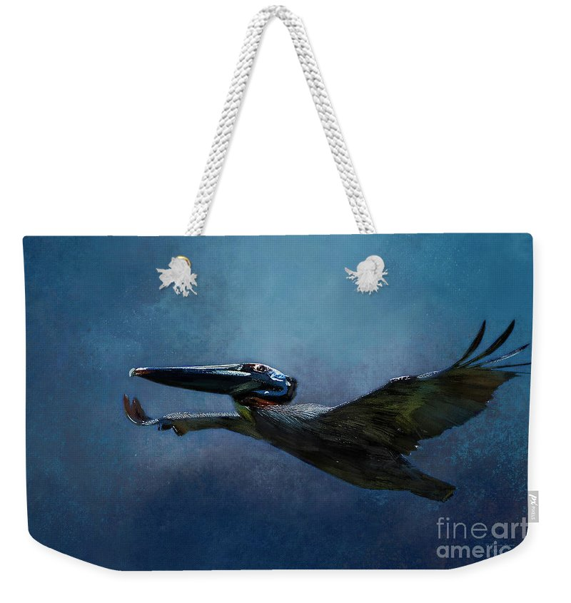 Bird Weekender Tote Bag featuring the mixed media Flight Of The Pelican by Marvin Spates
