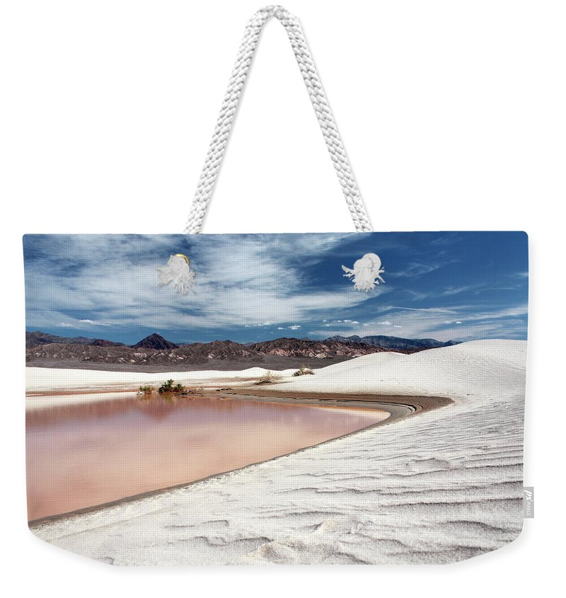 Sand Dune Weekender Tote Bag featuring the photograph Flooded Dunes At Death Valley National by Gary Koutsoubis