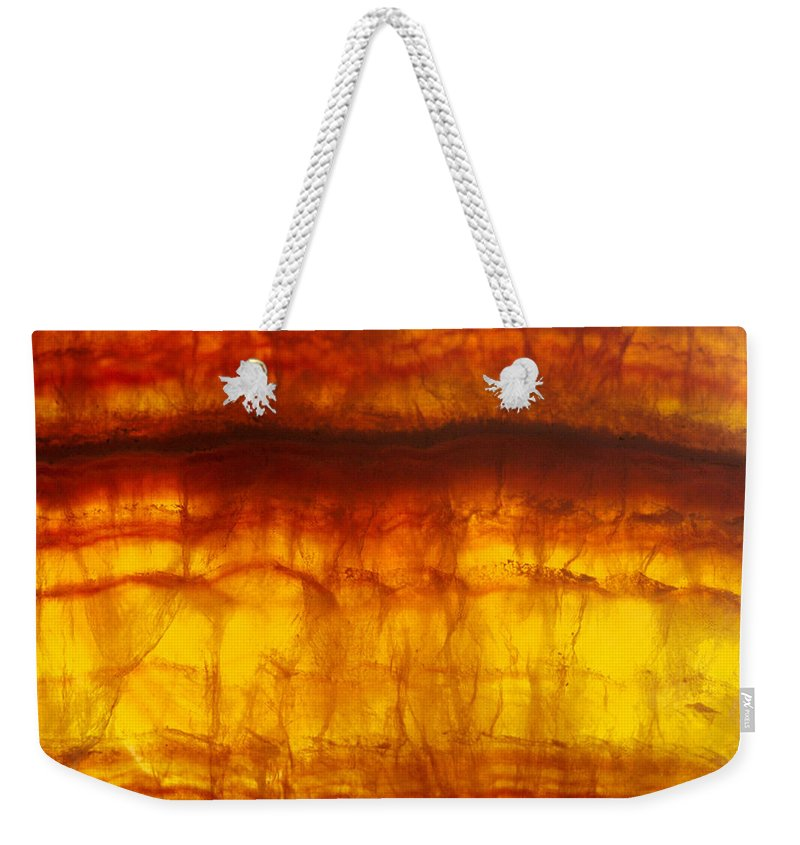 Mineral Weekender Tote Bag featuring the photograph Flourite by David Wasserman