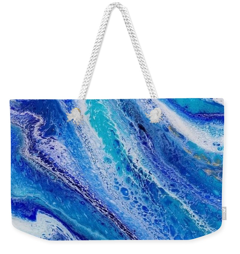 Water Weekender Tote Bag featuring the painting Flow 001 by Nicole Chambers