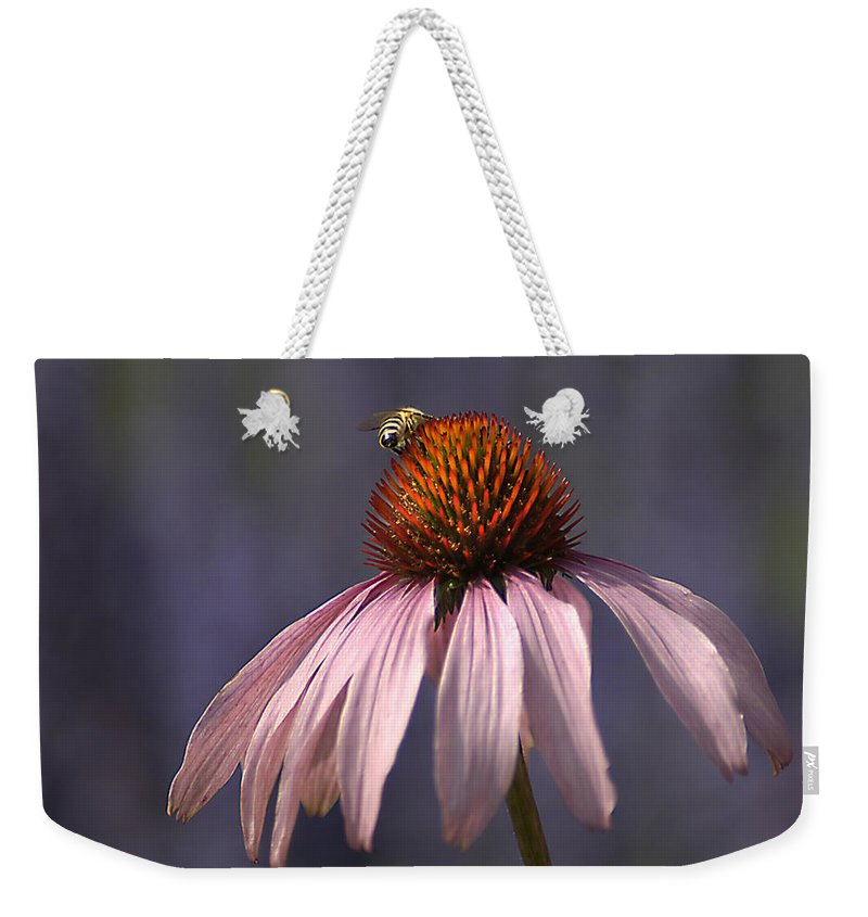Insect Weekender Tote Bag featuring the photograph Flower And Bee by Bob Van Den Berg Photography