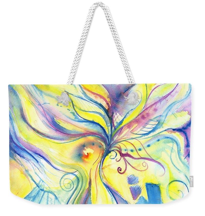 Rectangle Weekender Tote Bag featuring the digital art Flower Of The Soul by Stereohype