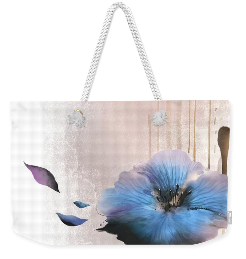 White Background Weekender Tote Bag featuring the digital art Flower On White Background by Ivary