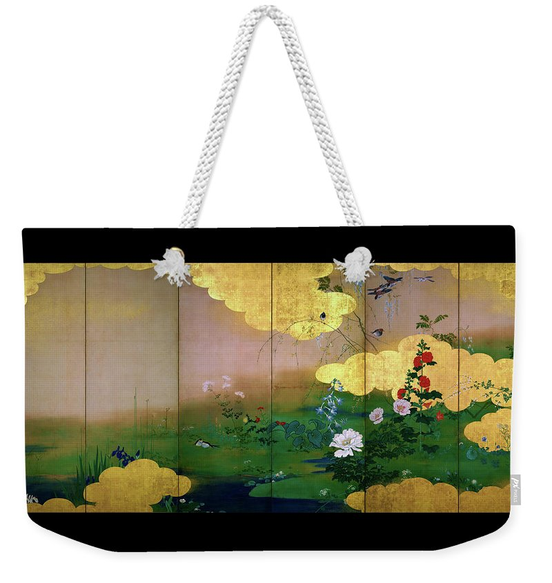Shibata Zeshin Weekender Tote Bag featuring the painting Flowers And Birds Of The Four Seasons - Digital Remastered Edition by Shibata Zeshin