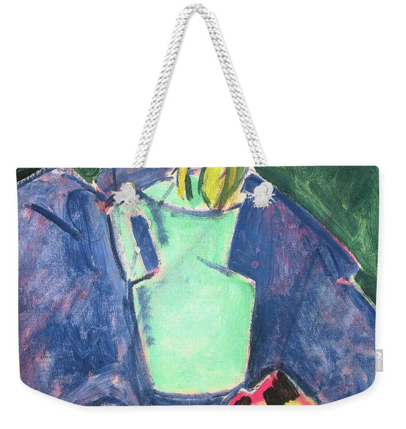Tulip Weekender Tote Bag featuring the painting Flowers In A Green Vase On Purple Cloth by Alfred Henry Maurer