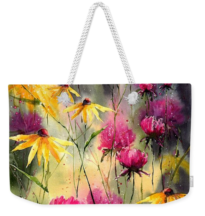 Red Weekender Tote Bag featuring the painting Flowers In The Rain by Suzann Sines