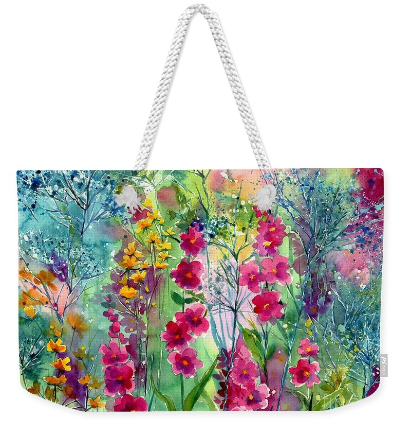 Pink Weekender Tote Bag featuring the painting Flowery Fairy Tales by Suzann Sines