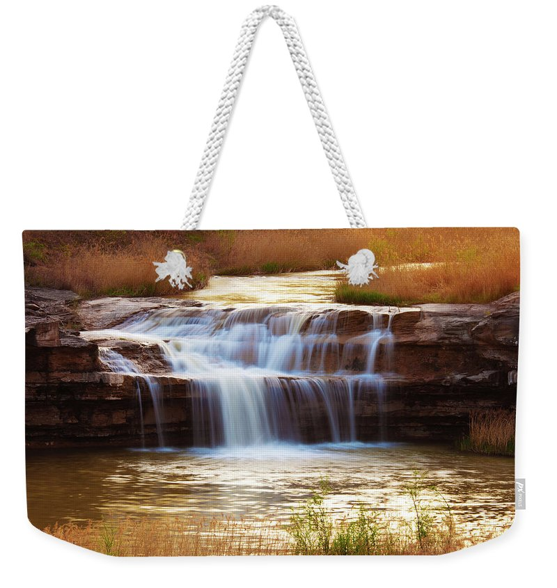 Scenics Weekender Tote Bag featuring the photograph Flowing Water On The Yellow Rock by Xenotar