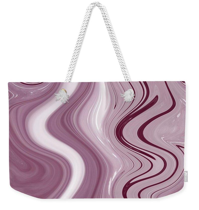 Fluid Painting Weekender Tote Bag featuring the painting Fluid Painting Wave Pattern Purple White And Black by Patricia Piotrak