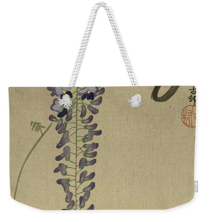 Flycatcher At Wisteria Weekender Tote Bag featuring the painting Flycatcher At Wisteria, 1910 by Ohara Koson