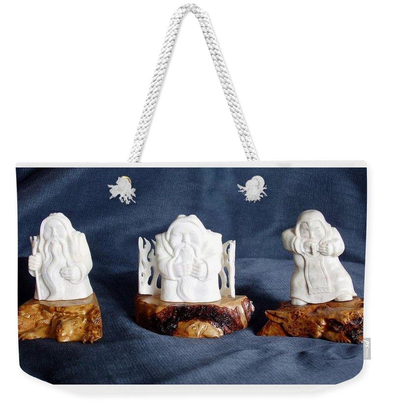 Handmade Weekender Tote Bag featuring the sculpture Folk Music. Ethnic Song. Musician Sculpture by Pop Art