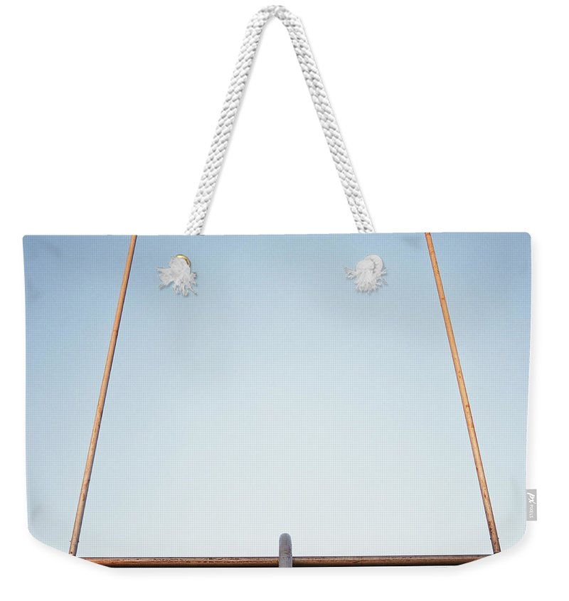 Goal Weekender Tote Bag featuring the photograph Football Goal Post by Mike Powell