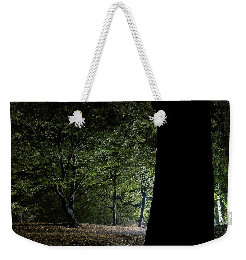 Gothic Style Weekender Tote Bag featuring the photograph Forest Glow Trees Lit At Night by Peskymonkey