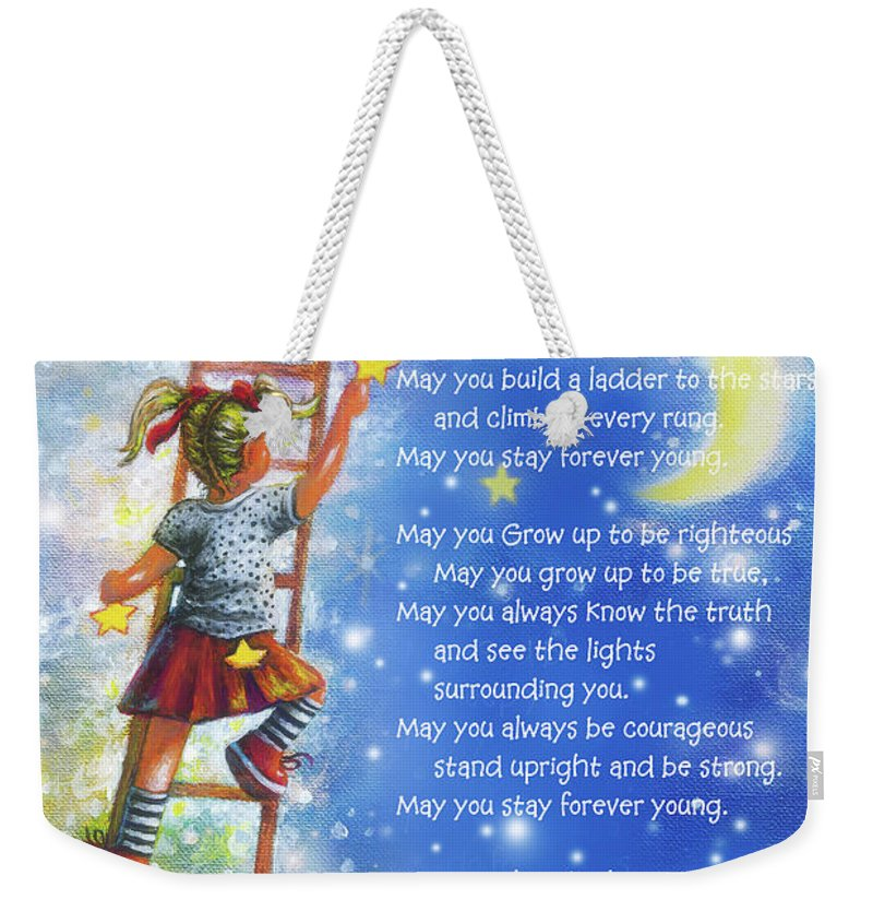 Forever Young All Lyrics Blonde Girl Wall Art Weekender Tote Bag featuring the painting Forever Young All Lyrics Blonde Girl by Vickie Wade