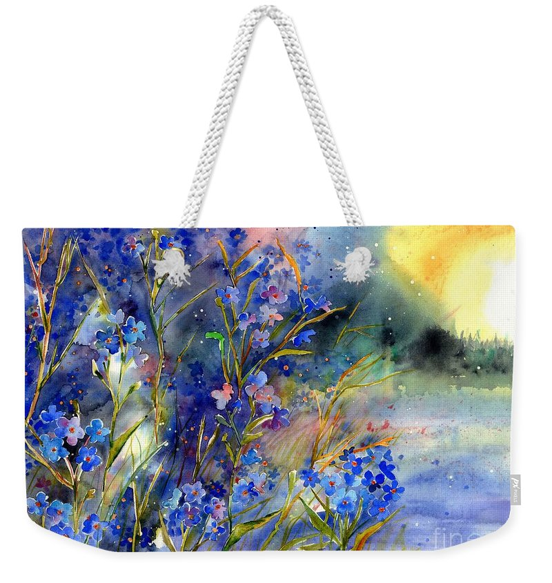 Cosmic Weekender Tote Bag featuring the painting Forget-me-not Watercolor by Suzann Sines