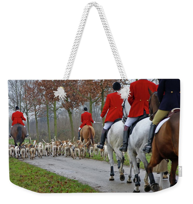 Horse Weekender Tote Bag featuring the photograph Fox Hunt 1 by Lya cattel