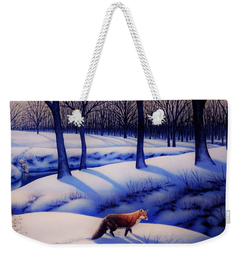 Fox Weekender Tote Bag featuring the painting Fox Hunt Creek by Charles Hill