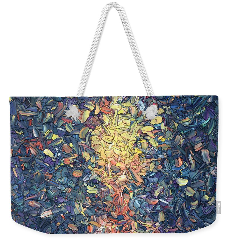Candle Weekender Tote Bag featuring the painting Fragmented Flame by James W Johnson
