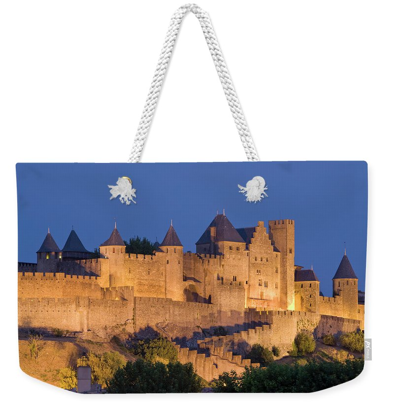 Majestic Weekender Tote Bag featuring the photograph France, Languedoc, Carcassonne, Castle by Martin Child