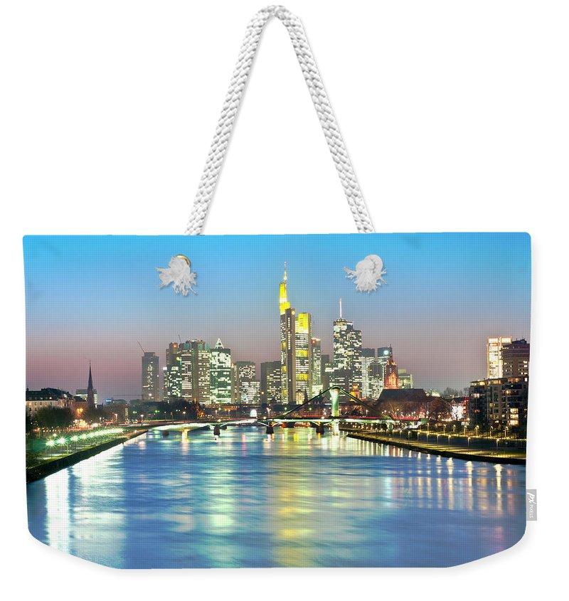 Hesse Weekender Tote Bag featuring the photograph Frankfurt Night Skyline by Ixefra