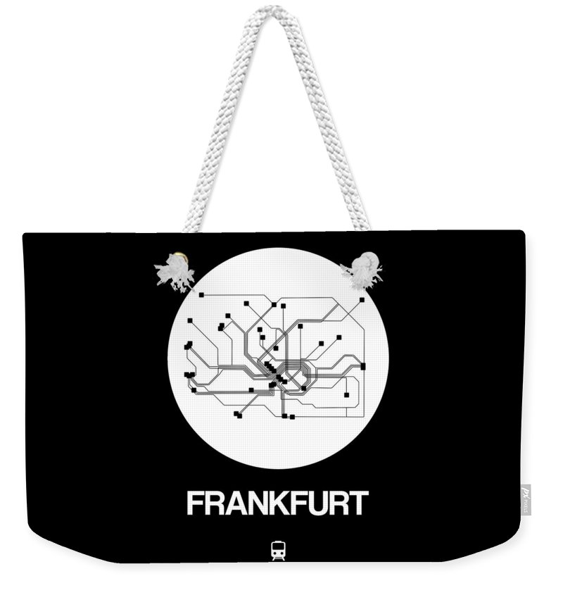 Vacation Weekender Tote Bag featuring the digital art Frankfurt White Subway Map by Naxart Studio