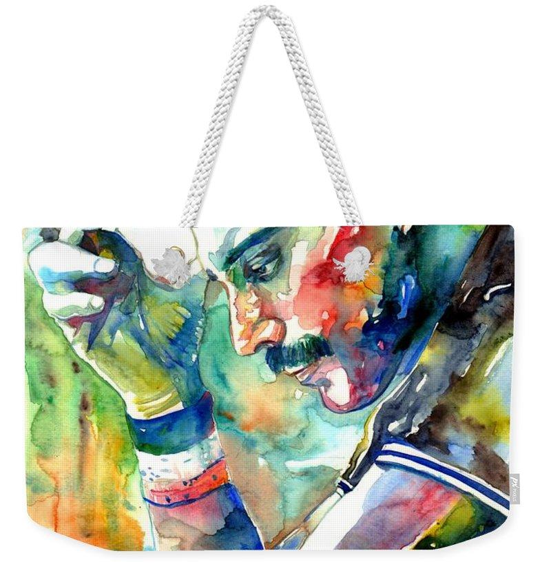 Freddie Mercury Weekender Tote Bag featuring the painting Freddie Mercury With Cigarette by Suzann Sines