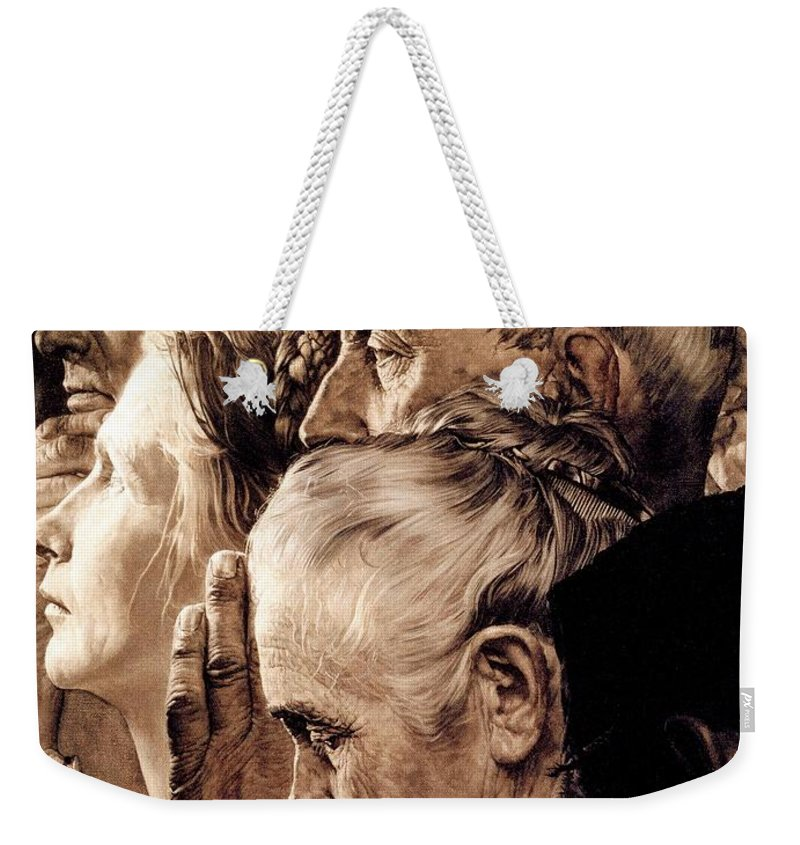 Praying Weekender Tote Bag featuring the drawing Freedom Of Worship by Norman Rockwell