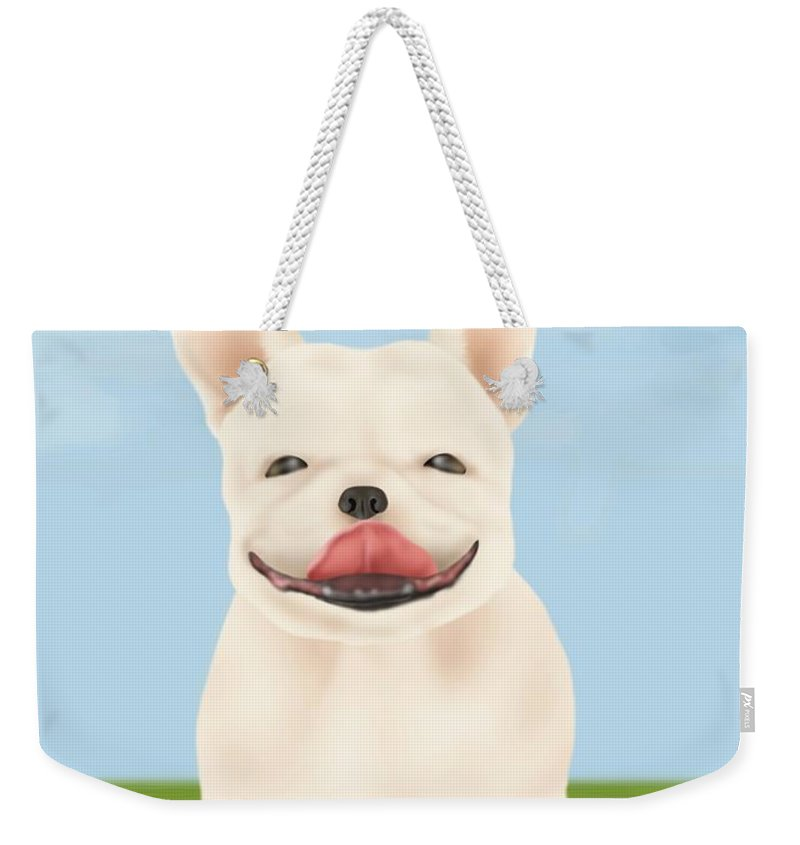 Pets Weekender Tote Bag featuring the digital art French Bulldog Sitting On Green Field by Daj