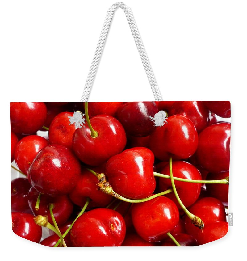 Cherry Weekender Tote Bag featuring the photograph Fresh Red Cherries by Vienna Mornings