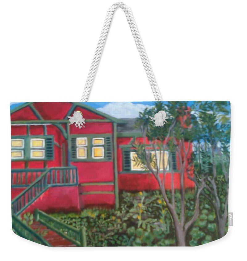 Painting Of House Weekender Tote Bag featuring the painting Fresh yard by Andrew Johnson