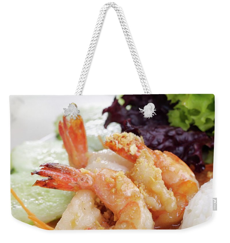Thai Food Weekender Tote Bag featuring the photograph Fried Shrimps With Garlic by Shyman