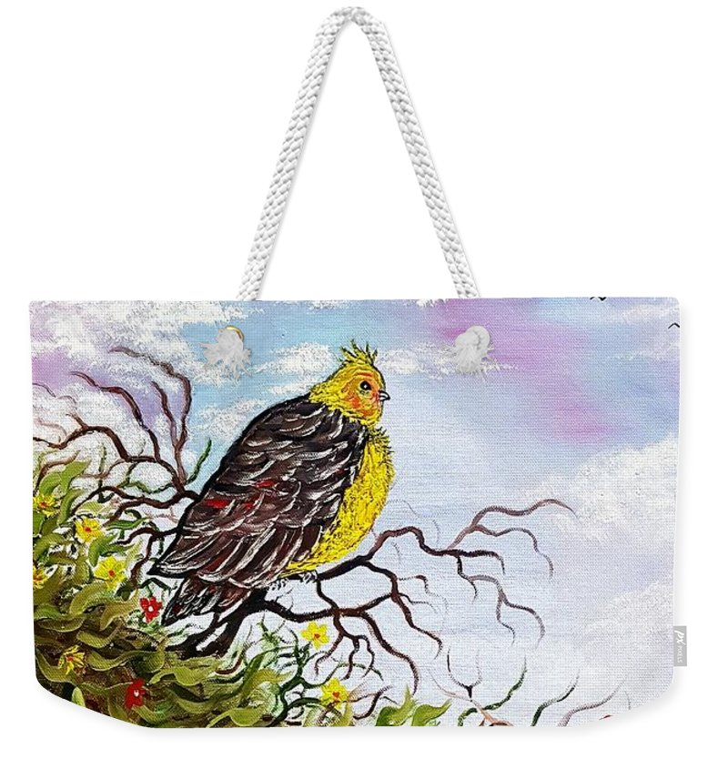 Bird Weekender Tote Bag featuring the painting Friendly Bird Called Tweet by Angela Whitehouse
