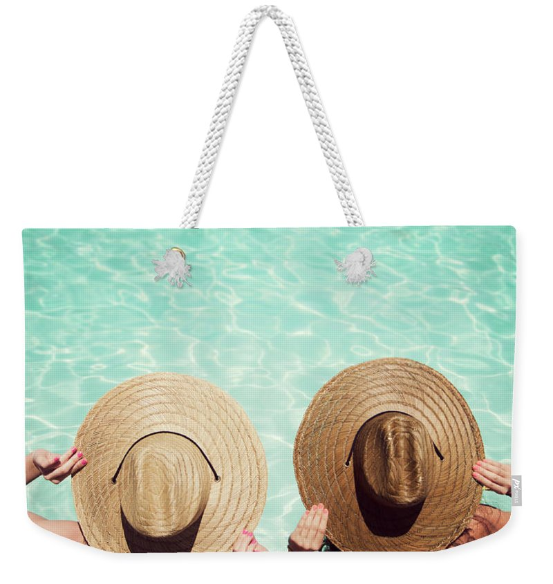 Fedora Weekender Tote Bag featuring the photograph Friends By The Pool by Becon