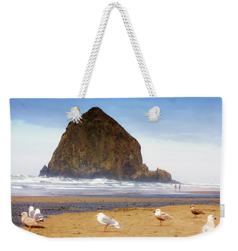 Haystack Rock Weekender Tote Bag featuring the photograph From A Gull's Perspective Haystack Rock by Kandy Hurley