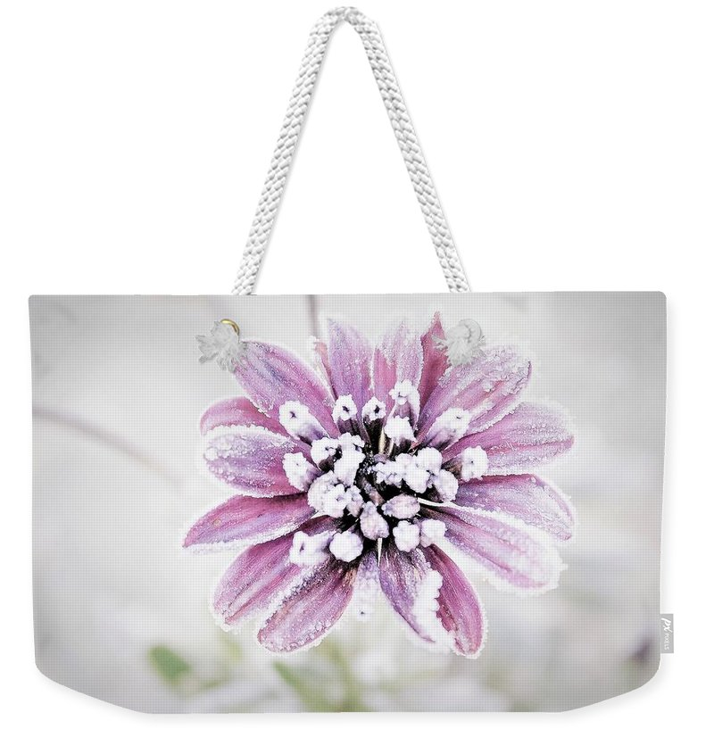 Flower Weekender Tote Bag featuring the photograph Frost by Maureen Plitt