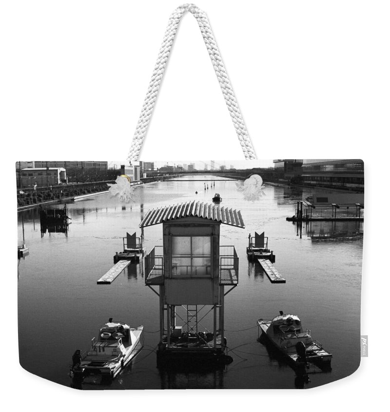 Standing Water Weekender Tote Bag featuring the photograph Frozen Boat Course by Huzu1959