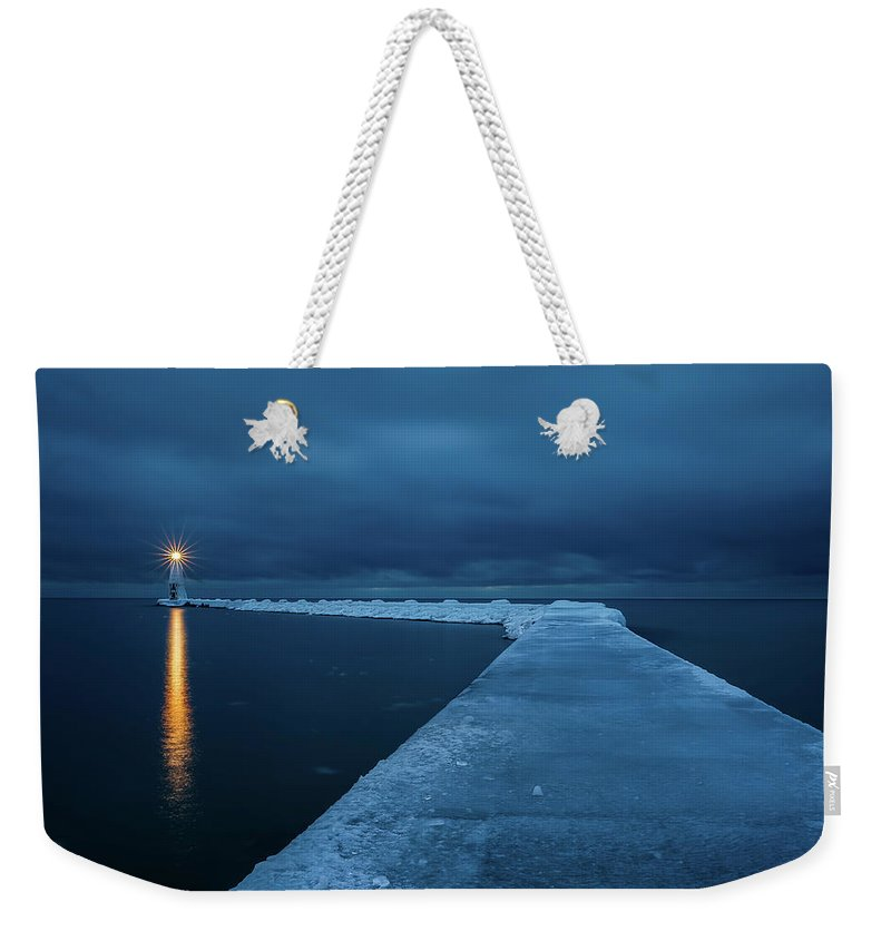 Tranquility Weekender Tote Bag featuring the photograph Frozen Path by John Fan Photography