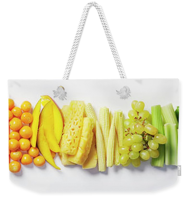 Cherry Weekender Tote Bag featuring the photograph Fruit & Vegetable Color Wheel by David Malan