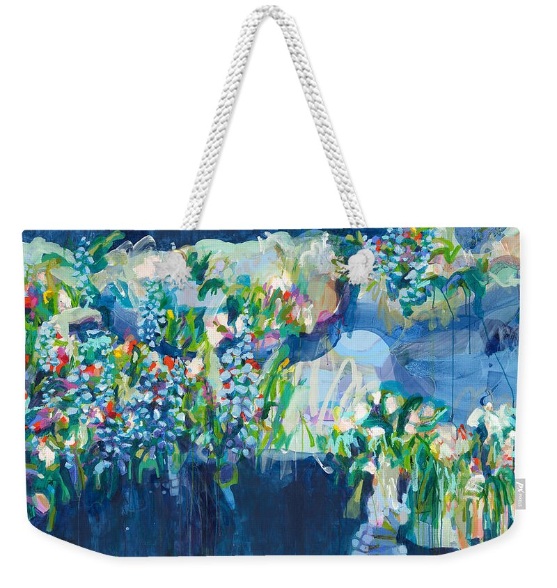 Abstract Weekender Tote Bag featuring the painting Full Bloom by Claire Desjardins