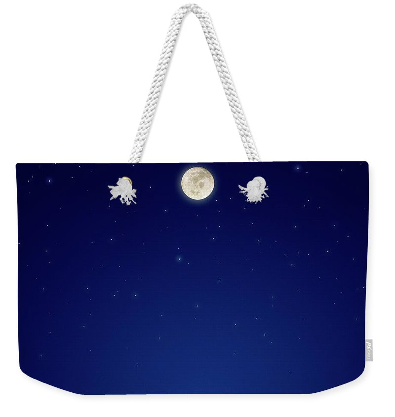 Constellation Weekender Tote Bag featuring the photograph Full Moon Over New Hampshire by Soubrette