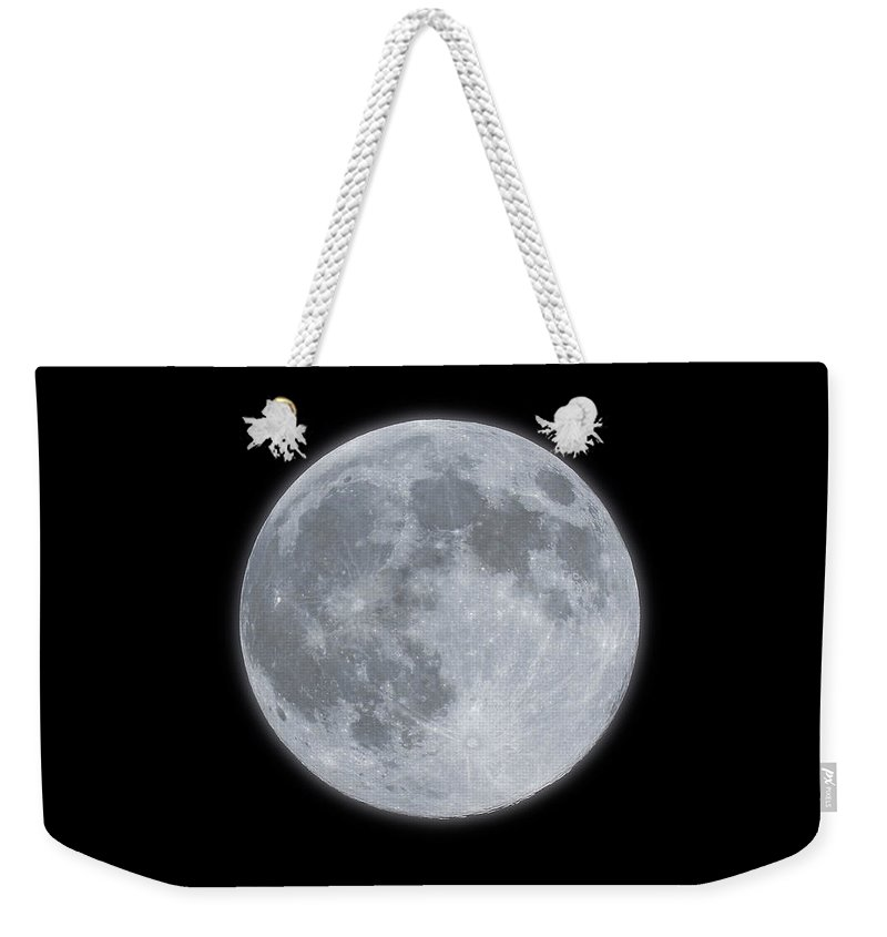 Sky Weekender Tote Bag featuring the photograph Full Moon With Glow by Banksphotos