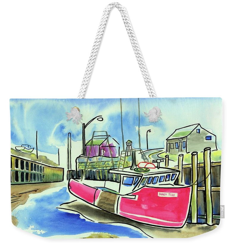 Red Boat Weekender Tote Bag featuring the painting Fundy Tide Hall's Harbour by Kevin Cameron