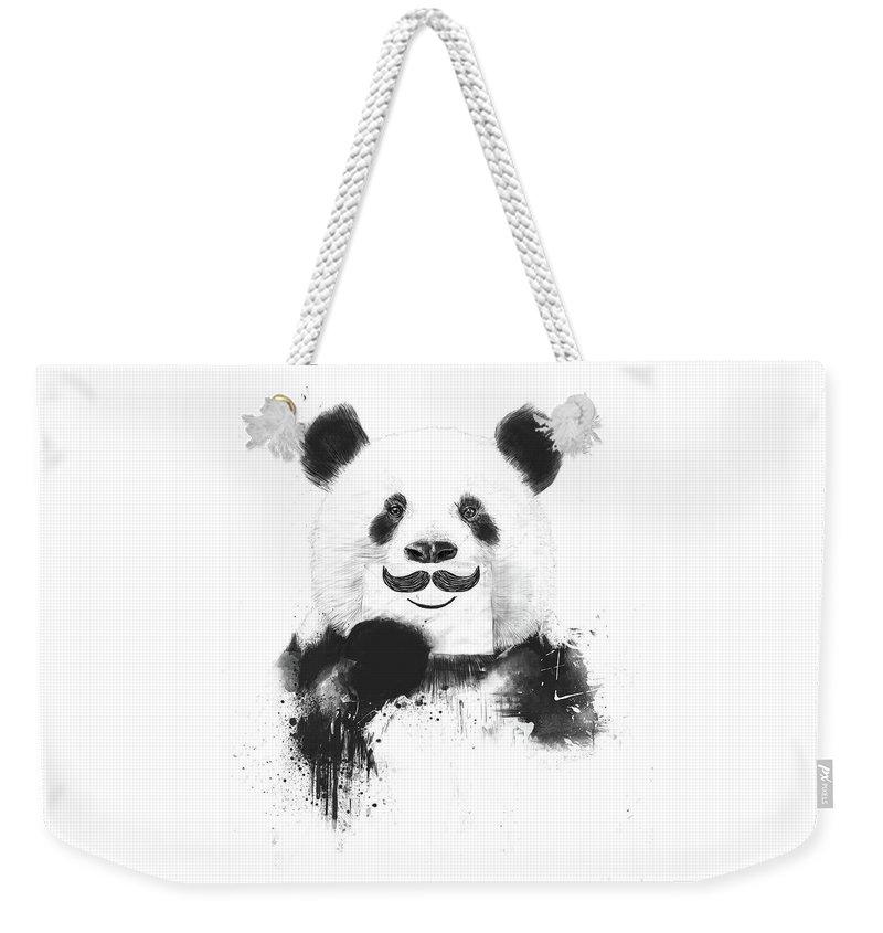 Panda Weekender Tote Bag featuring the mixed media Funny Panda by Balazs Solti