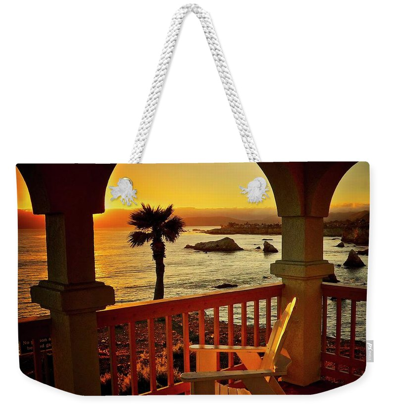 Nature Weekender Tote Bag featuring the photograph Gazebo View of Central California Coast by Zayne Diamond Photographic