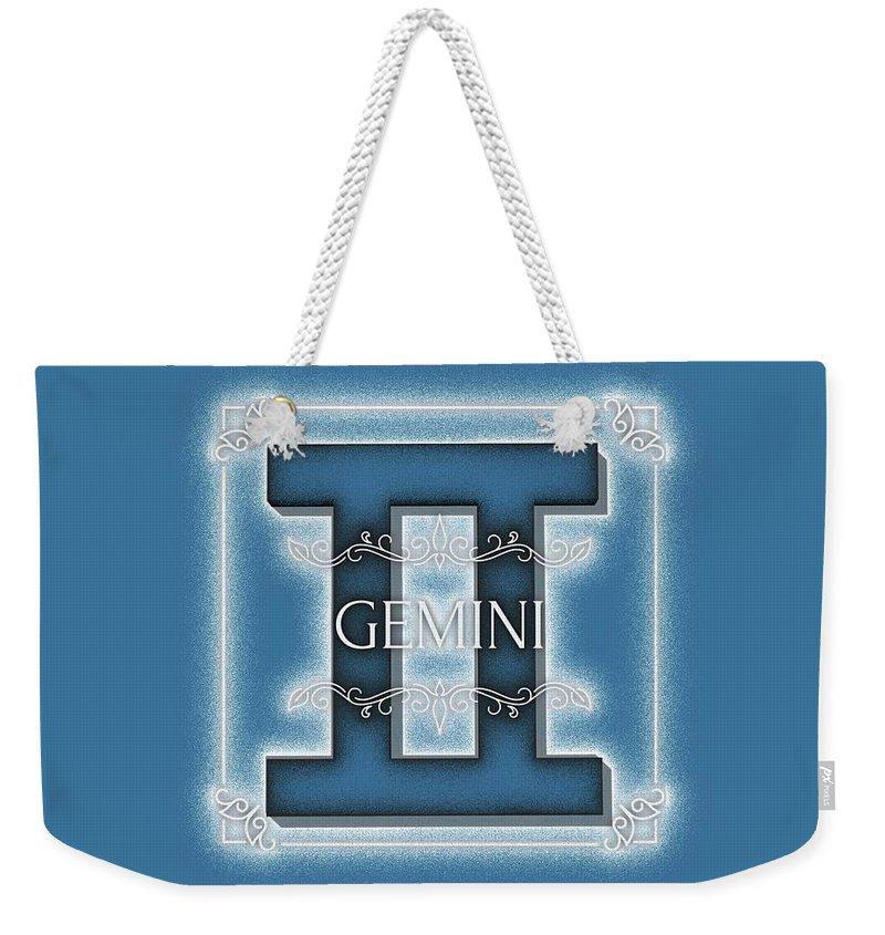 Zodiac Weekender Tote Bag featuring the digital art Gemini by Esoterica Art Agency